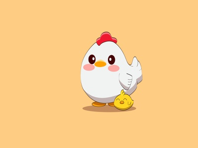 Cute Chicken and Funny Baby Chicken. Flat Vector Illustration. animals flat design cute characters baby chicken chickens