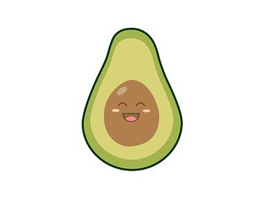 Cute Happy Smiling Avocado. Vector flat cartoon character. character design smiley fruits avocado cartoon
