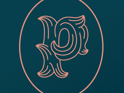 Ornate P monogram monoline lettering p