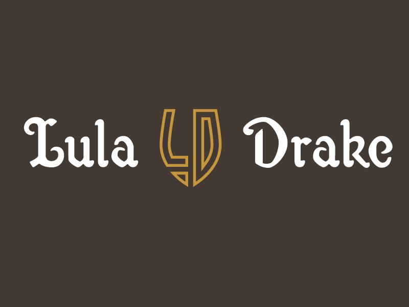 Lula Drake Logo with Monogram custom type monogram brown gold columbia wine bar lula drake wine