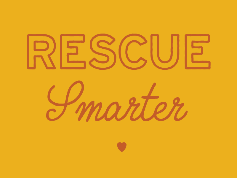Rescue Smarter Tagline treatment dogs bandana createathon columbia sc transfur animal rescue dog rescue heart rust gold typography