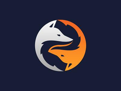 Yin Yang Fox Logomark icon orange grey simple modern fox logo yin yang fox