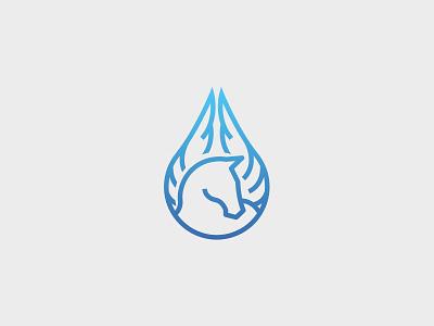 Logo Pegasus Waters simple pure horse branding mark logo lineart blue drop water pegasus