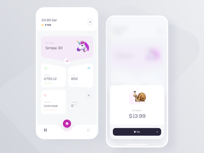 ISP Control payment balance service application mobile ios user clean app design ux ui