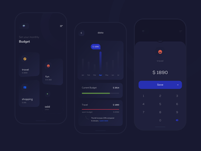 Set your monthly budget finance budget dark account application mobile ios user clean app design ux ui