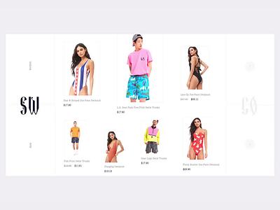 Swimwear fashion cart bag shop motion animation user interface web design user clean web design ux ui