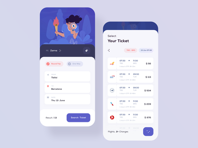 Trip ticket vector interface flight bus train ticket account user app application ios design ux ui