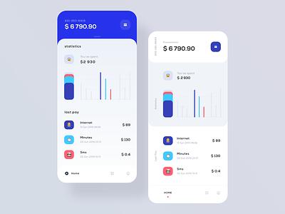 Mobile Balance Dashboard statistics calendar pay finance account dashboard application mobile ios user interface user clean app design ux ui