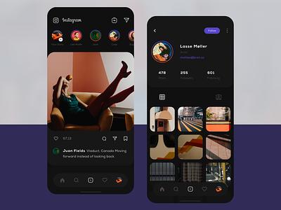 Instagram dark visual profile instagram social account application mobile ios user user interface clean app ux design ui