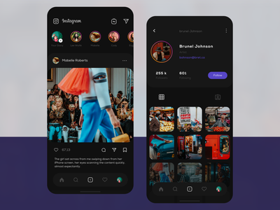 Instagram dark visual v.2 account profile social instagram application mobile ios user interface user clean app design ux ui