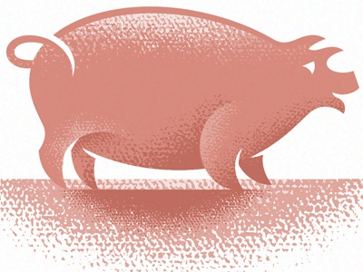Pig 1 pig hog sow pork ham miller animal mammal farm revival pink