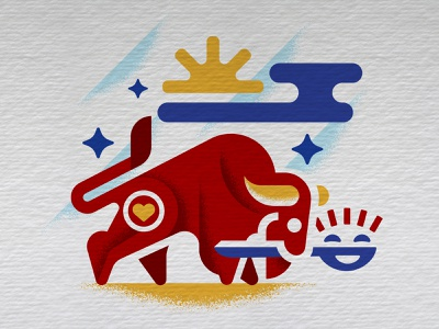Gladspoon BISON glad miller mammal horns sun face animal cloud primary colors spoon buffalo bison