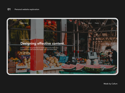 Experimental personal website exploration website design ux minimal ui