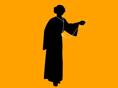 Disney Princess illustration silhouette star wars orange