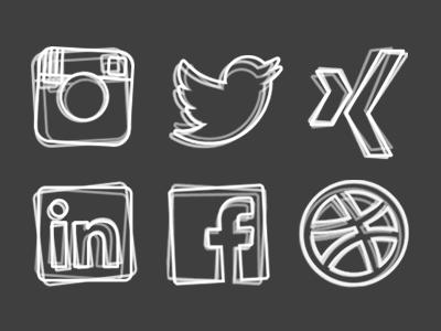 some sketchy social media icons icons iconset portfolio social media