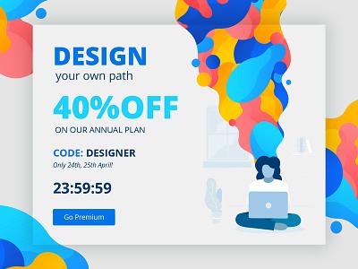 Designer's Week designer deal discount popup offer colors