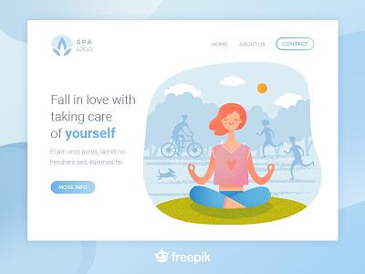Mindfullness landing meditation color ui flat character illustration web mindfullness wellness yoga landing design