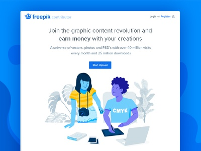 Landing Contributor Freepik minimal layout clean homepage web blue design characters illustration landing