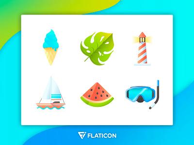 Summertime Icon Set gradient symbol ispiration colors illustartion summer icon