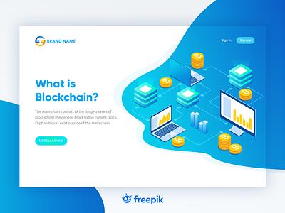 Blockchain Web Inspiration branding development web design design flat blockchain inspiration landing web