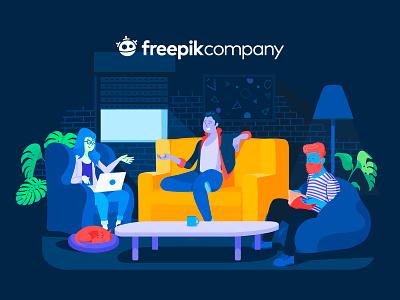 Freepik Company Illustration logo people flat branding vector illustration design