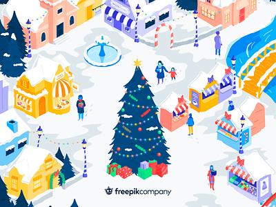 Help Piki Save Christmas snow town colorful isometric market christmas tree instagram christmas freepik inspirational watercolor flat vector illustration design
