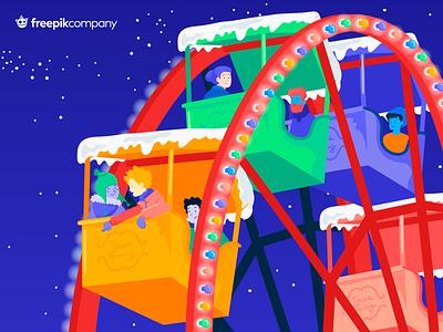 ❄️ Christmas Illustration - Ferris Wheel winter vector stars snow people night lights illustration gradient freepik ferris wheel fair colorfull christmas children character carnival attraction park amusement park