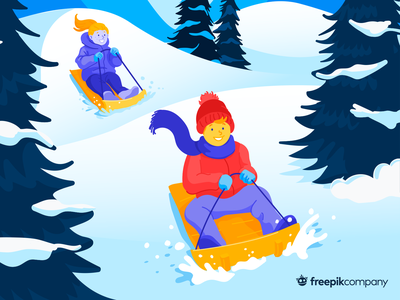 Kids on a snow hill❄️ freepik branding tree christmas design christmas sled friends snow hill winter colorful flat corporative colors characters snow playing kids children design illustration