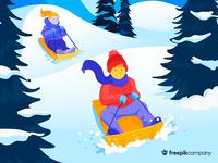 Kids on a snow hill❄️