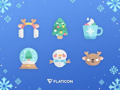 Christmas icons gradient blue magic illustration tree flat hotchocolat snow snowman winter christmas icons vector