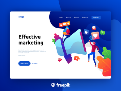 📢 Marketing Landing Page Concept branding design freepik vector ui  ux social media marketing interface illustration home gradient colorful design colorful characters blue agency branding agency