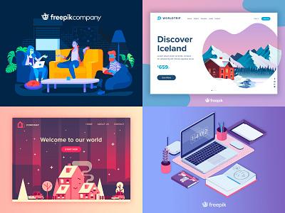 2018 Top dribbble web design freepik app web flat landing top 2018 2018 top branding logo gradient design vector illustration