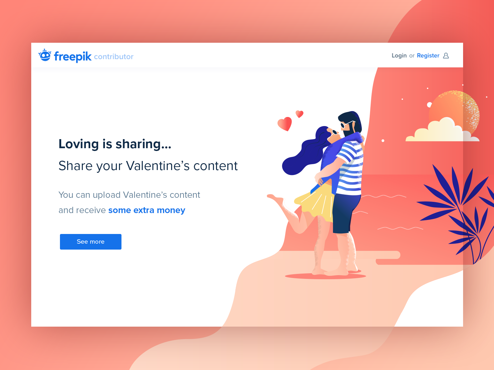 ❤️ Valentine's Day Landing page valentines day valentine day landing page vector art characters design heart beach sunset characters couple love design vector gradient landing freepik illustration