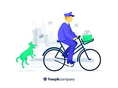 Newsletter Illustration bicycle bike green purple dog mailing email postman character freepik vector flat design illustration