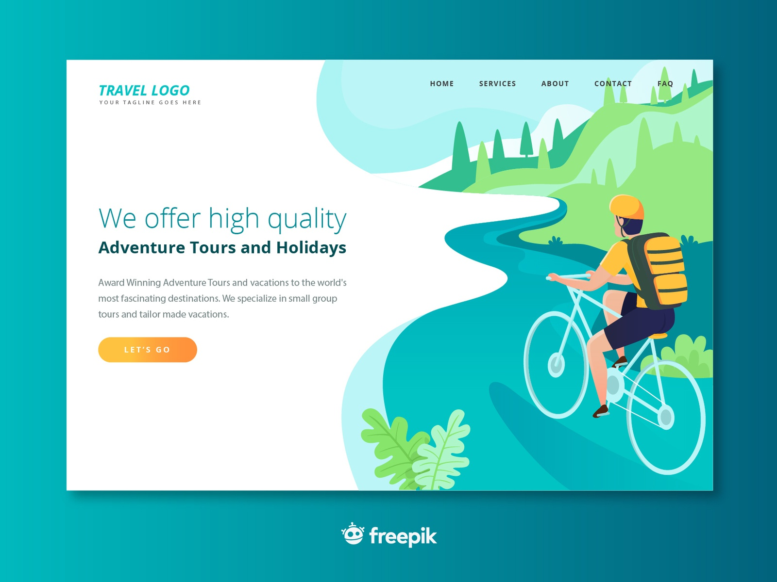 Travel Themes Landing Page Mockup By Freepik Company On