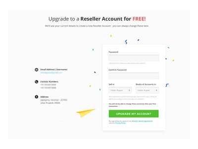 Signup Form update account upgrade webpage graphic upgrade login signup