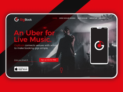 Landing Page design for GigBook