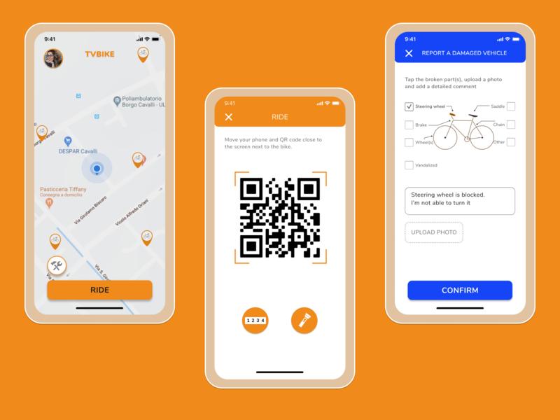 TVBike - Bike sharing App qrcode mobile design mobileappdesign mobileapp mobile ui designprocess uxresearch uidesign uxdesign