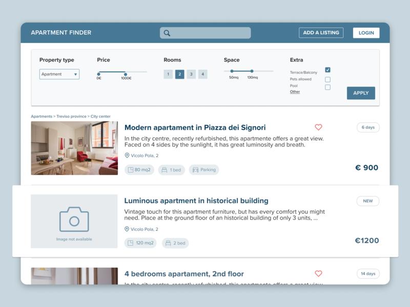 Apartment finder - Web Platform website list view uxuidesign uidesign webdesign