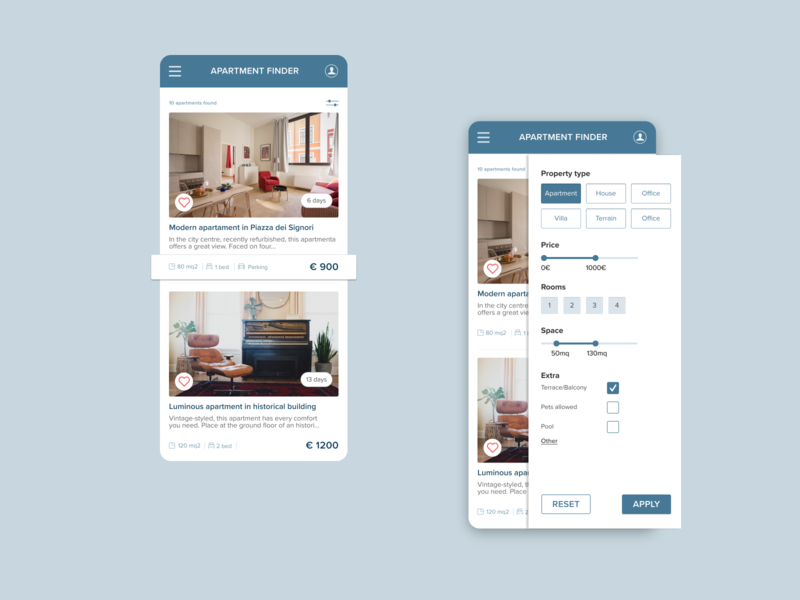 Apartment Finder - Mobile filters responsive design uidesign mobileappdesign mobileapp