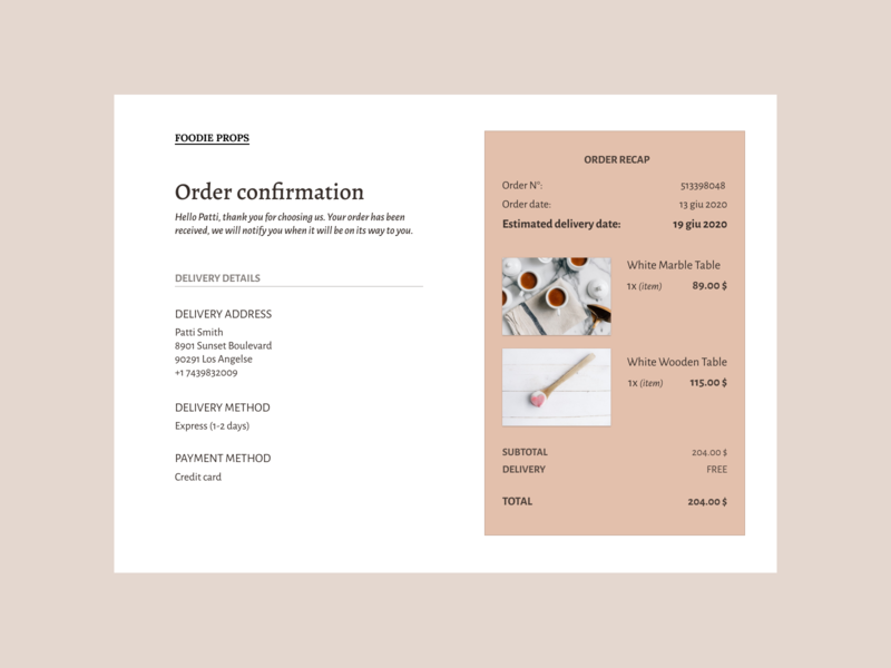 Daily UI #17 - Email receipt layout order details dailyui emailreceipt