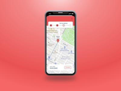 Daily UI 20 | Locationt tracker delivery app dailyuichallenge dailyui20 dailyui mobiledesign fooddelivery locationtracker maps