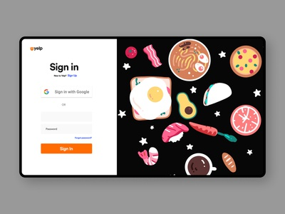 Yelp Sign In Page Redesign Concept minimal ui design web design landing page website web branding ui design food illustration food design food website food
