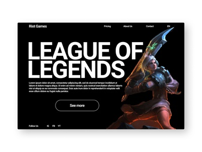 League of Legends typography ui design web design landing page website web branding ui design