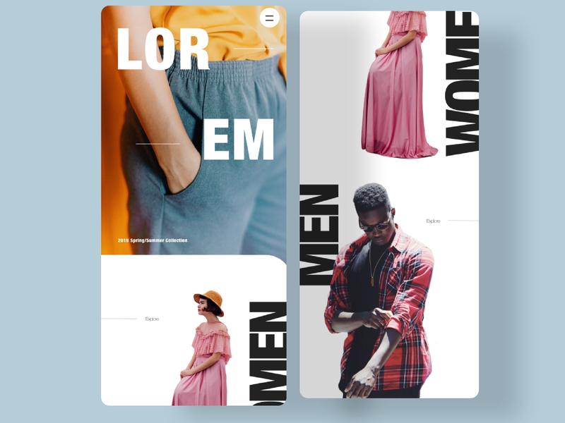 Fashion App flat minimal website branding app typography web design ui web design landing page