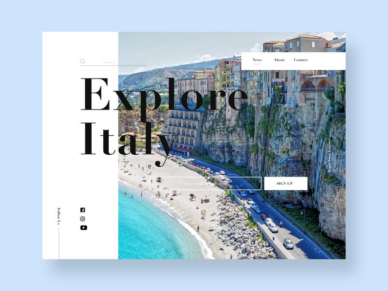 Explore Italy ux logo minimal website web design landing page web ui typography design branding