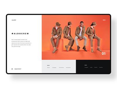 ALDO Concept fashion typography minimal ui design branding web design ui redesign concept aldo