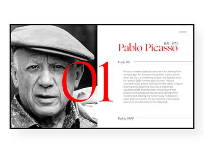 Pablo Picasso ux typography web design landing page identity web branding design ui website museum picasso