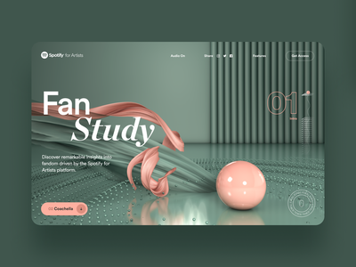 Spotify for Artists Fan Study Pitch; Concept style-frame No. 1 web design site concept creative direction art direction illustration interface ux rally interactive design ui