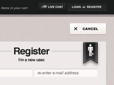 Login or Register creative direction art direction design ui e-commerce html rally interactive